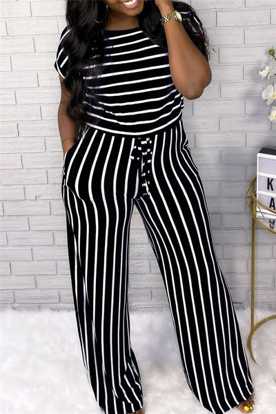 Casual Stripe Drawstring Jumpsuit