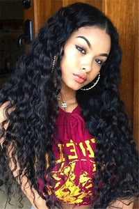 Long Black Small Curly Wigs