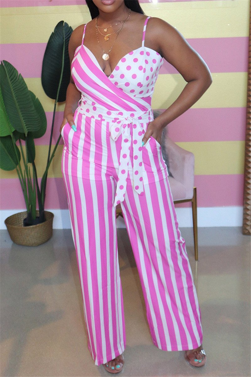 Stripe Printed Jumpsuit With Belt