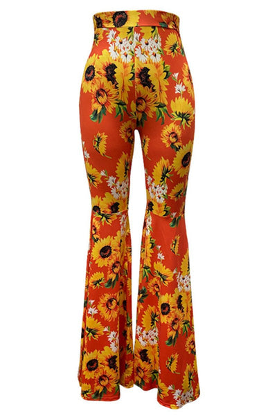 Flower Printed High Waist Flare Pants