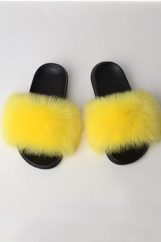 Fox Fur Open Toe Slippers
