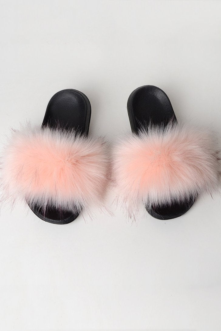 Raccoon Fur Open Toe Slippers
