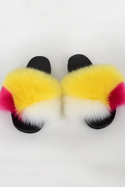 Color Splicing Fur Open Toe Slippers