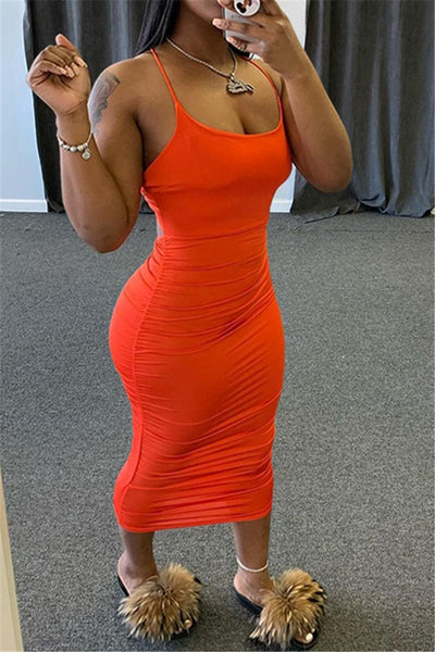 Solid Color Ruched Cami Dress