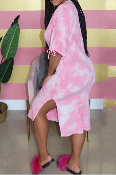 Bandage Sleeve Tie Dye Split Dress