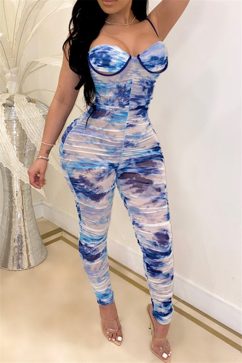 Tie Dye Ruched Cami Jumpsuit