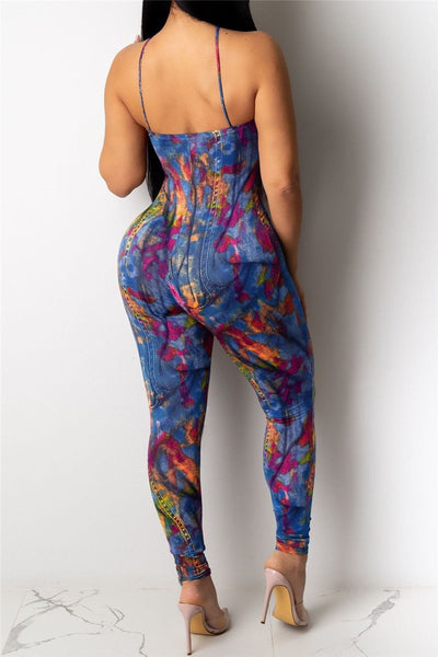 Printed Bodycon Cami Jumpsuit