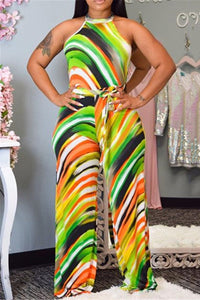 Stripe Printed Wide Leg Jumpsuit