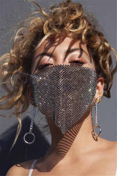 Metal Rhinestone Chain Face Mask