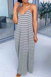 Casual Stripe Cami Maxi Dress