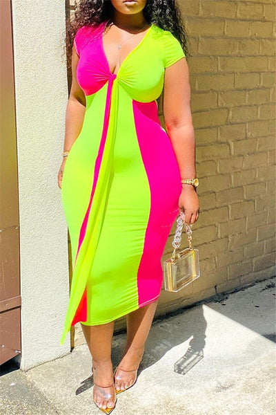 Color Splicing Wrap Midi Dress