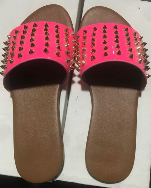 Rivet Studded Open Toe Beach Slippers