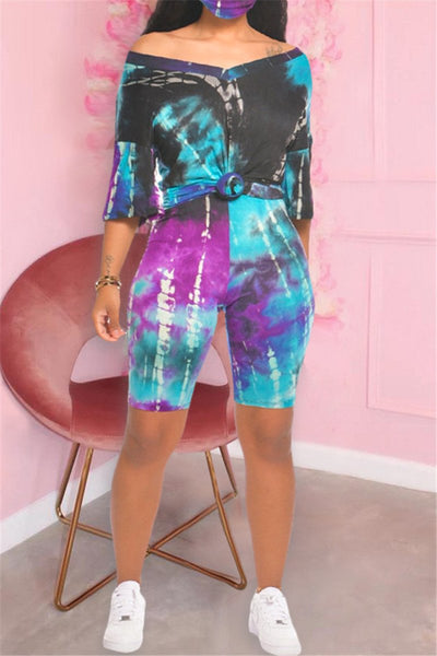 V Neck Tie Dye Two PC Sets