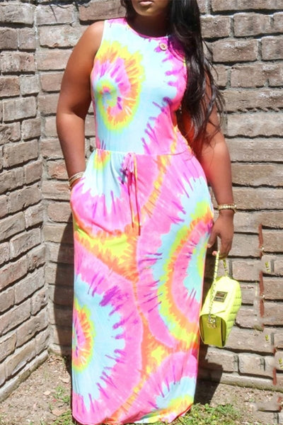Tie Dye Wrap Maxi Dress With Pockets