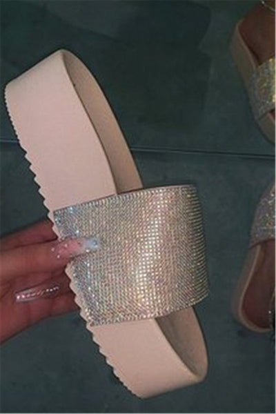 Rhinestone Platform Open Toe Slippers