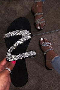 Shining Rhinstone Open Toe Beach Slippers