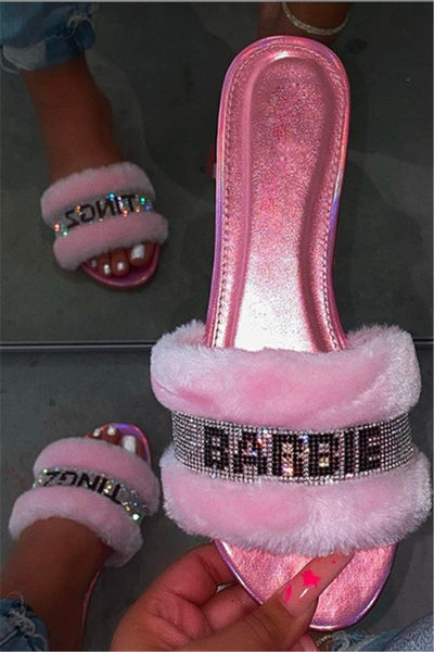 Barbie Fur Rhinstone Slippers