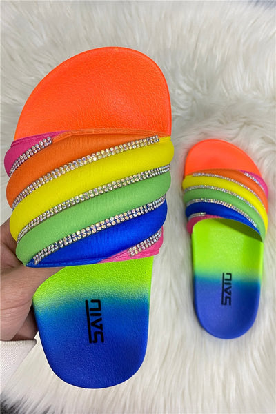 Rainbow Rhinstone Beach Slippers