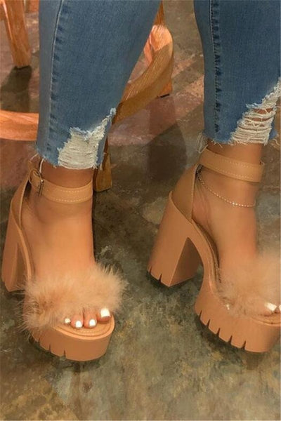 Fur Splicing Chunky Heeled Sandals