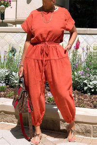 Solid Color Back Split Jumpsuit