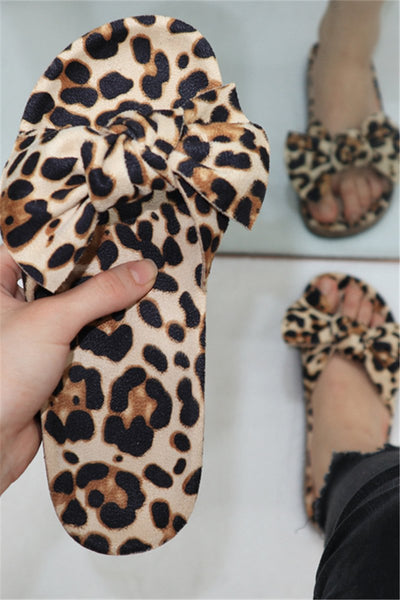 Leopard Bowknot Beach Slippers