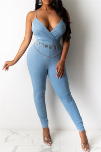 Back Hollow Out Denim Cami Jumpsuit