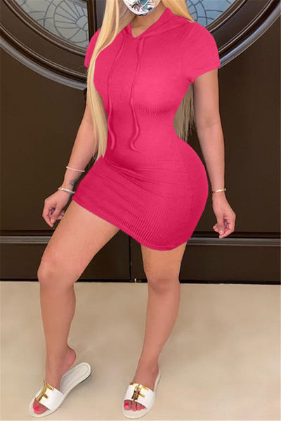 Solid Color Hooded Mini Dress