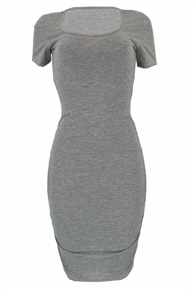 Ruched Back Hollow Out Mini Dress