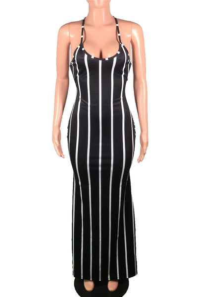 Stripe Back Bandage Maxi Dress