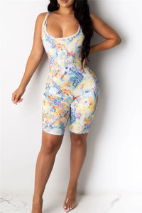 Printed Bandage Hollow Out Romper