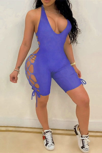 Solid Color Bandage Hollow Out Romper