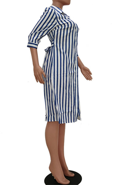 Casual Stripe Bandage Shirt Dress