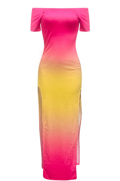 Off Shoulder Color Changing Split Dress