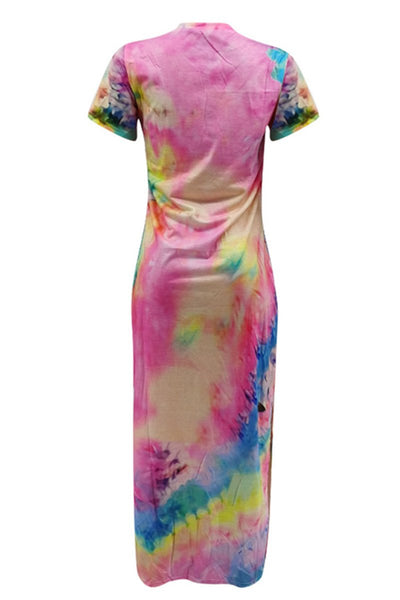 Tie Dye Split Maxi Dress