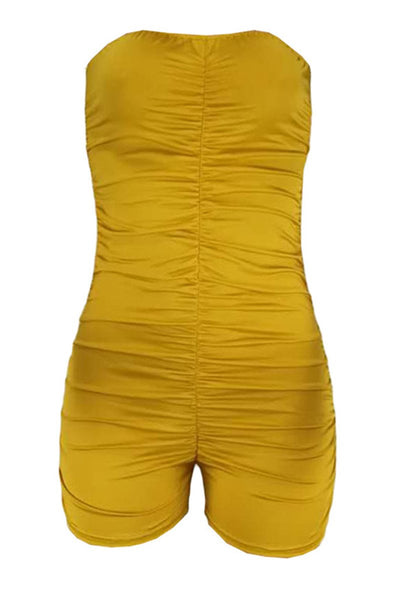 Solid Color Tube Ruched Romper