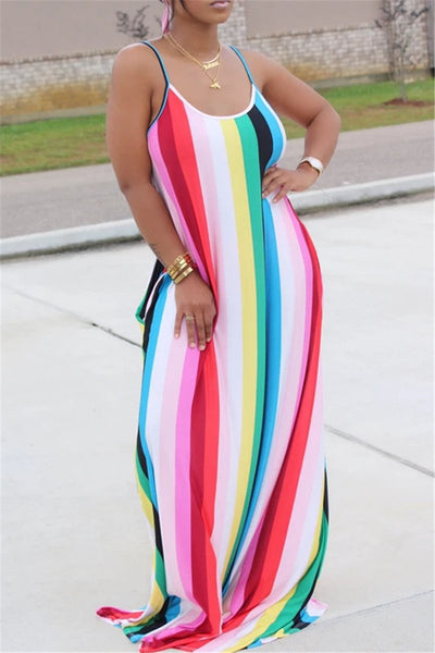 Casual Stripe Maxi Dress With Headscarf