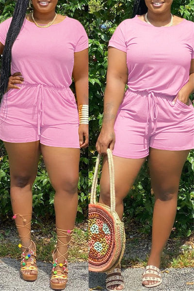 Casual Solid Color Drawstring Romper
