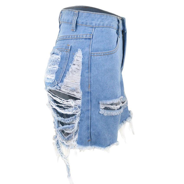 Hollow Out Distressed Denim Shorts