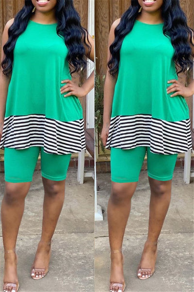 Casual Stripe Splicing Two PC Sets