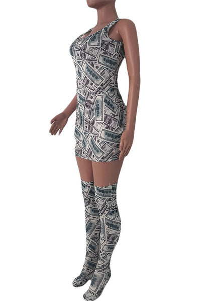 Printed Cami Dress With Stockings