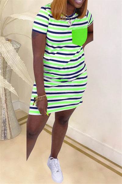 Casual Stripe Printed Mini Pocket Dress
