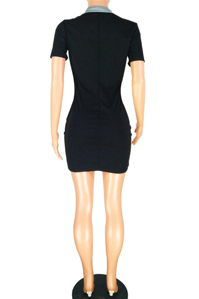 Color Splicing POLO Neck Dress