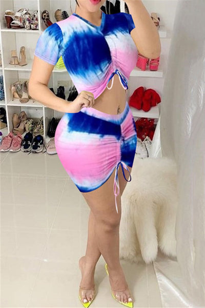 Tie Dye Drawstring Top& Skirt Sets