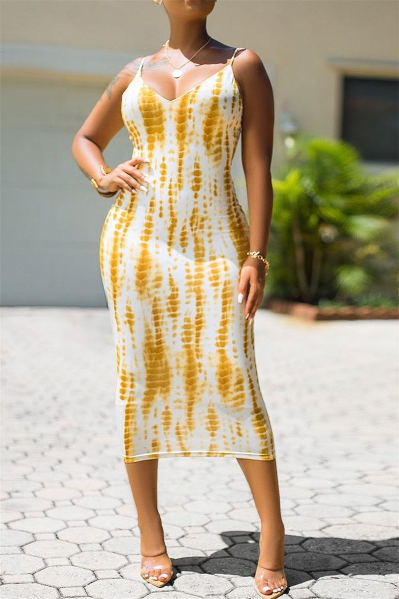 Printed Back Bandage Dress