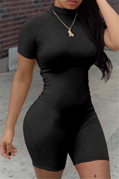 Solid Color High Neck Bodycon Romper