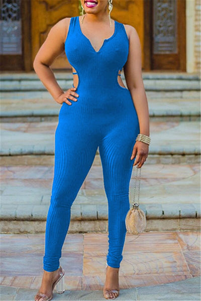 Solid Color Back Hollow Out Jumpsuit