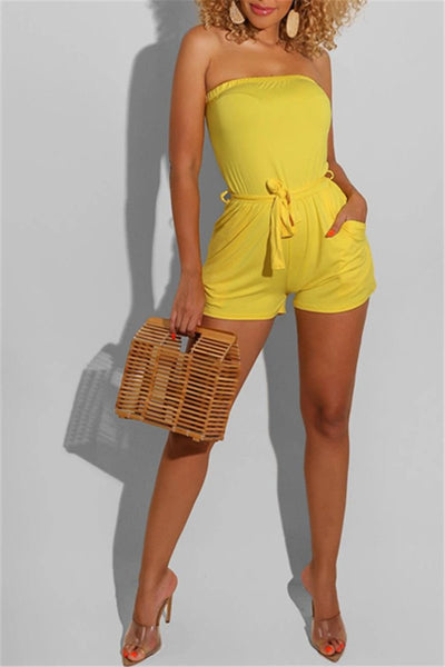 Solid Color Tube Romper With Pockets