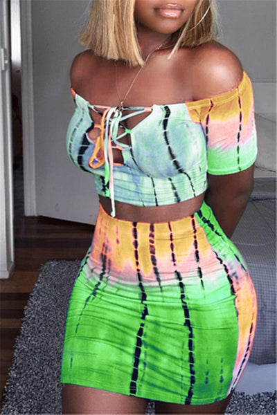 Tie Dye Bandage Top& Skirt Sets