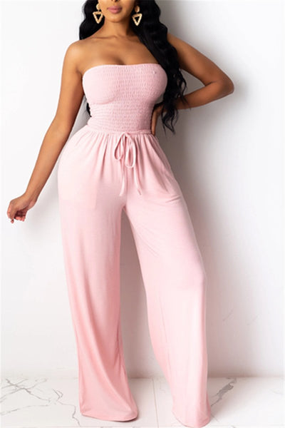 Solid Color Smocked Tube Jumpsuit