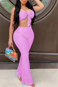 Mesh Tube& Flare Pants Sets